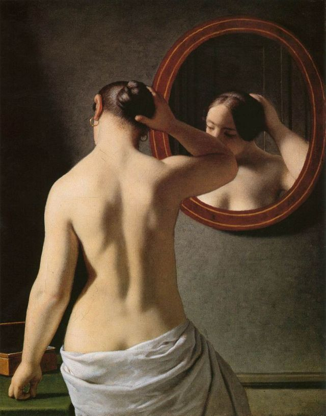Femme debout devant un miroir - Christoffer Wilhelm Eckersberg - 1841
