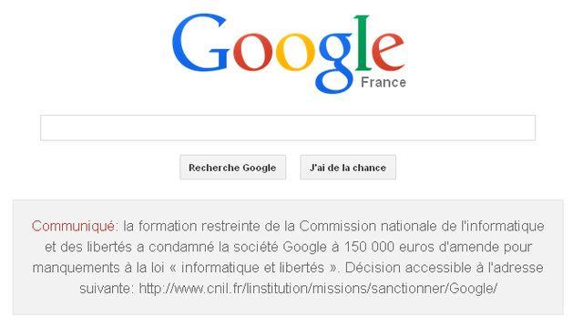 La page d'accueil de Google France le 8 février 2014