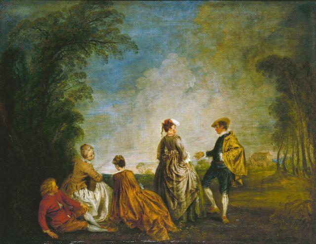 Antoine Watteau, 'La Proposition embarrassante' | 65 x 84,5 cm, huile sur toile | Musée de l'Ermitage, Saint-Pétersbourg