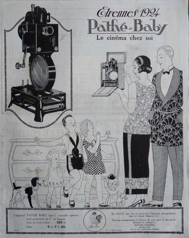 Publicité pour le projecteur Pathé Baby en 1923.