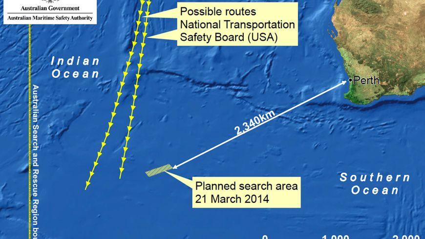 La zone de recherche australienne du vol MH37 de Malaysia Airlines