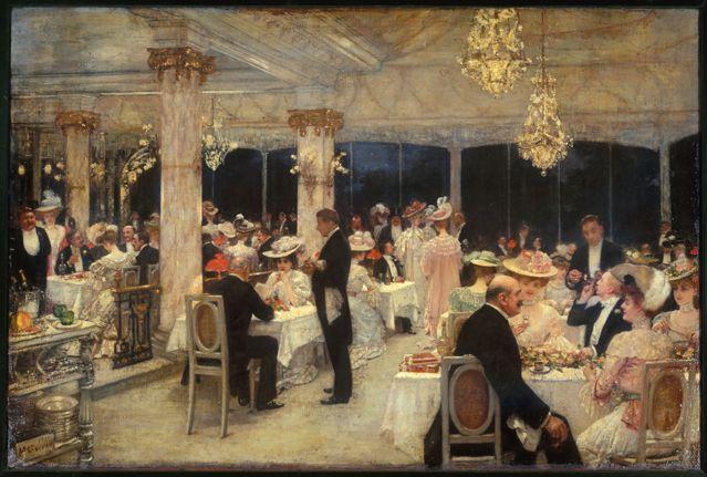 Henri Gervex - Un soir de grand prix au pavillon d'Armenonville, 1905. Huile sur toile, 66 x 98 cm