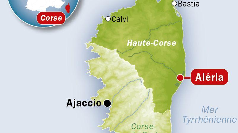 Carte de localisation d'Aléria (Haute-Corse)