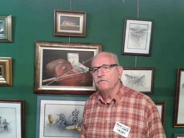 Charles, peintre-pêcheur, au Salon de la pêche sportive