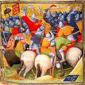 Bataille de Crécy (1346) illustration tirée des Chroniques de Jean Froissart.