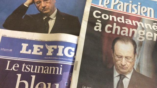 François Hollande fait la une des journaux du lundi 31 mars, après la défaite de la gauche aux municipales