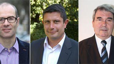 Trois candidats à la mairie de Guingamp : Yannick Kerlogot, Philippe Le Goff et Pierre Pasquiou.
