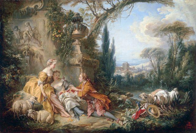 François Boucher, 'Les Charmes de la vie champêtre' | 100 x 146 cm, huile sur toile | Musée du Louvre, Département des Peintures