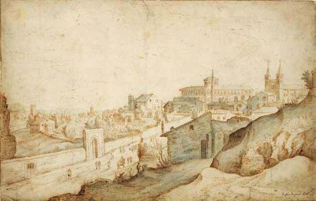 Willem Adriaensz. van Nieulandt II - Vue de Rome depuis la route menant à la basilique de Saint-Jean-de-Latran