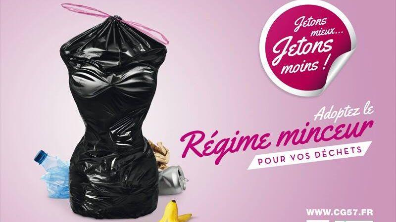 Conseil général Moselle campagne de pub sexisme minceur déchet tri, mars 2014.
