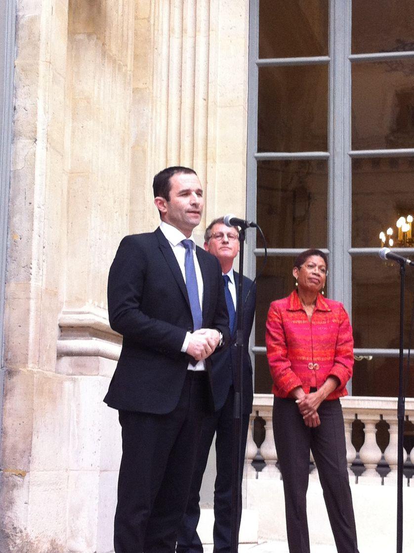 Benoît Hamon, nouveau Ministre de l'Education Nationale, avec George Pau-Langevin et Vincent Peillon