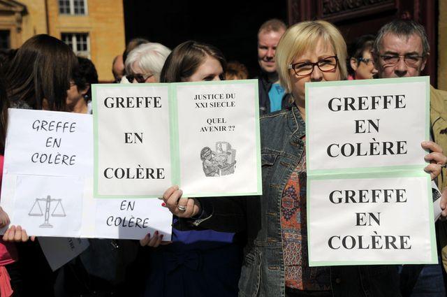 Mouvement de colère chez les greffiers. Ici, le 1er avril dernier à Metz
