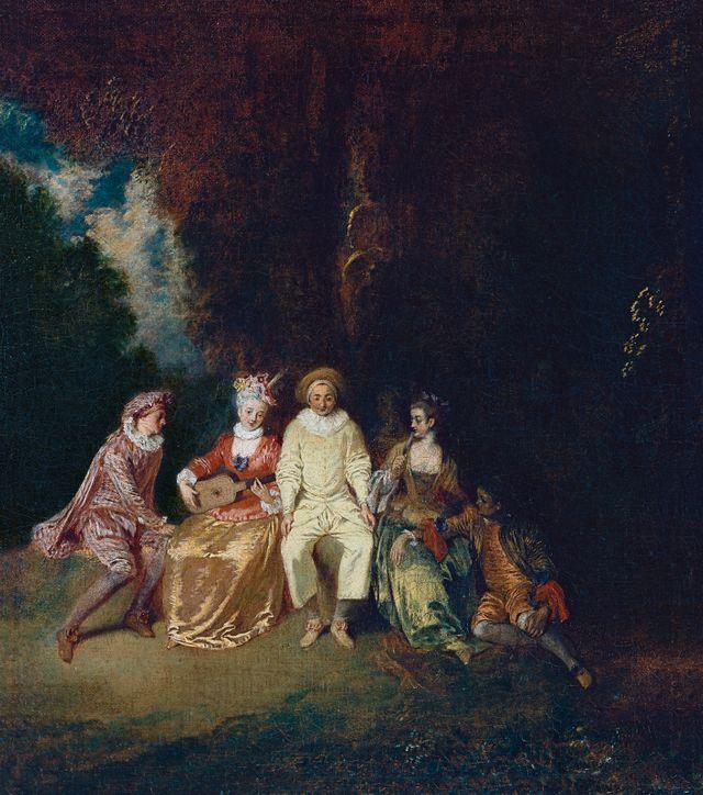 Antoine Watteau, 'Pierrot content' | 35 x 31 cm, huile sur toile | Madrid, Museo Thyssen-Bornemisza