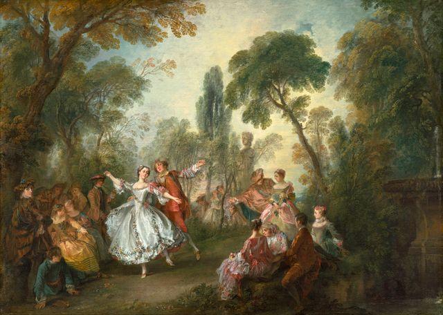 Nicolas Lancret, 'Fête Galante avec la Camargo dansant avec un partenaire', 76,2 x 106,7 cm huile sur toile, National Gallery of