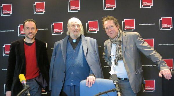 Samedi 29 mars, dans le studio 141 : Martin Pénet, Pierre-Robert Leclerq & Benoît Duteurtre ( de gauche à droite ) Annick Haumier © Radio France