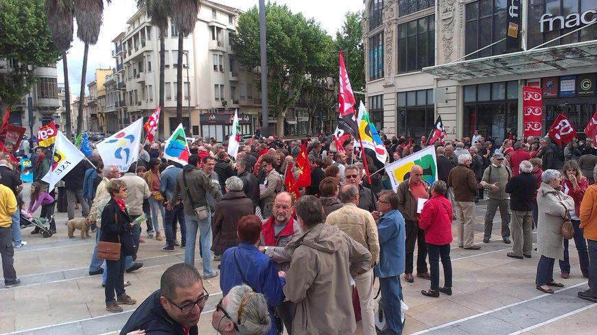 Manifestation place de Catalogne à Perpignan