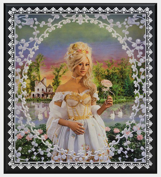 Marie-Antoinette, le hameau de la reine, (modèle : Zahia Dehar), photographie peinte, unique, 2014
