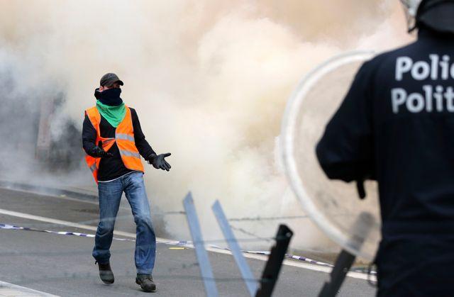 Des échauffourées ont éclaté en marge de la manifestation à Bruxelles