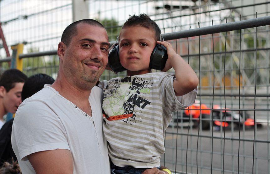 Damien et son fils au Grand Prix de Pau