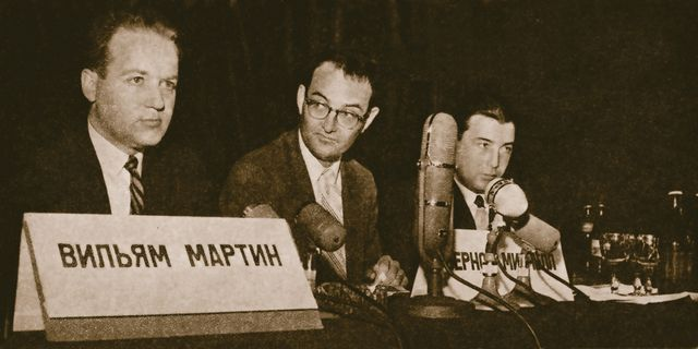 NSA defectors William H. Martin and Bernon F. Mitchell at the Moscow press conference announcing their defection, July 1, 1960