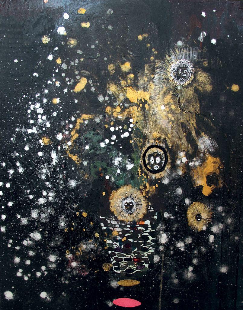 Hélène Delprat, Portrait pourri remix 1, 2004, pigments, paillettes et faux cils sur toile
