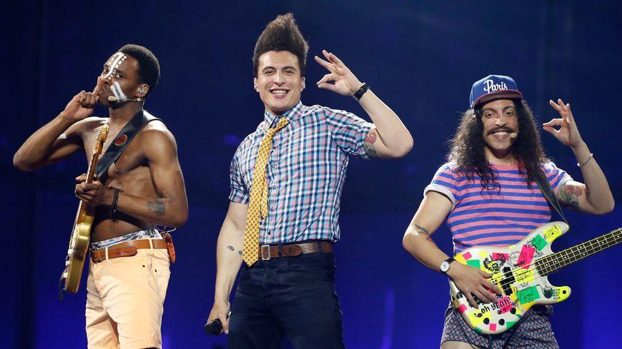 Les candidats français Twin Twin lors de leur réprésentation à l'Eurovision