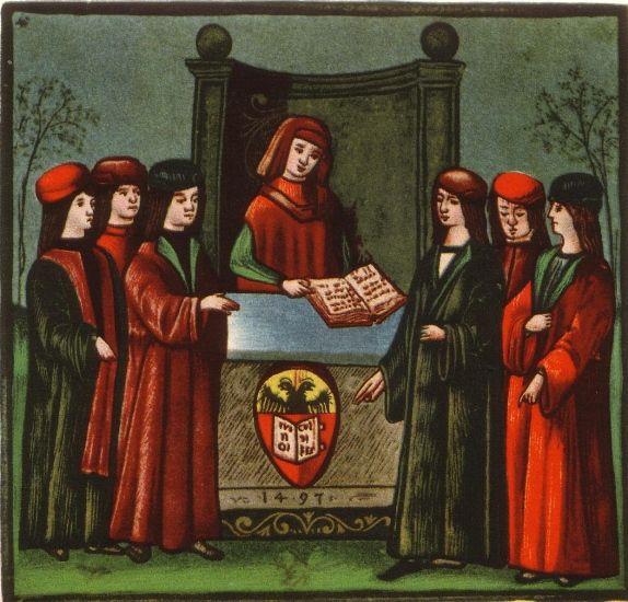 L'entrée d'étudiants dans la nation allemande de l'université de Bologne, la Natio Germanica Bononiae. Miniature de 1497