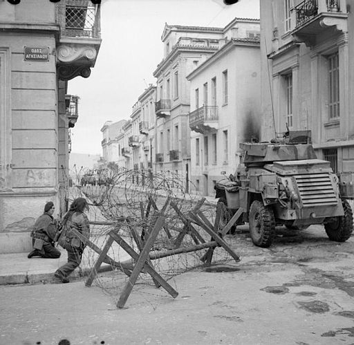 A Humber armoured car supports paratroops during operations against ELAS in Athens, 6 January 1945