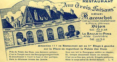 """Carte postale du restaurant Les Trois Faisans où se déroule le récit """"Une mariée à Dijon"""""""