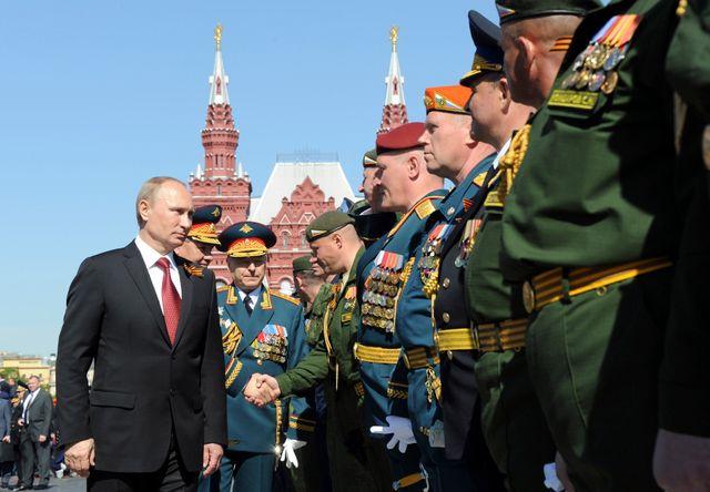 Vladimir Poutine lors de la parade militaire du 9 mai à Moscou
