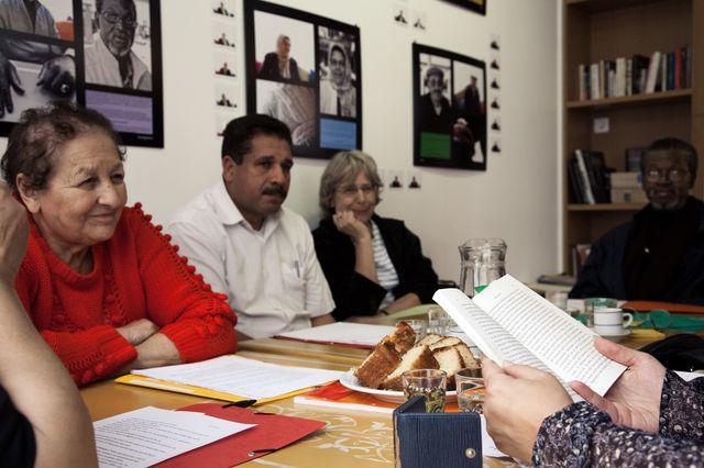 """Bahia, Éric, Sylvie Dreyfus (BNF) et Souleymane - """"Mémoires de Chibanis"""""""