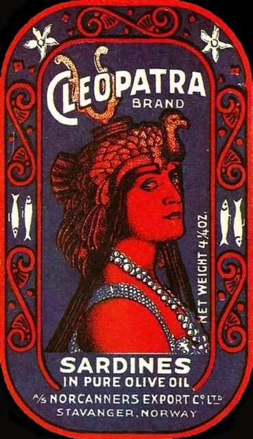 Cléopatra brand - boîte de sardine à l'huile Stavanger (Norvège) 1914