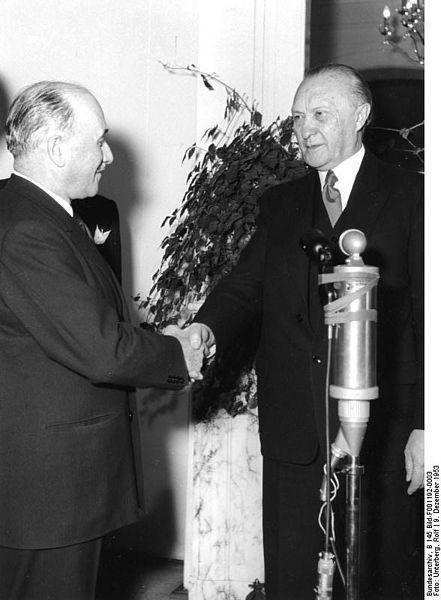 Jean Monnet et Konrad Adenauer, deux pères fondateurs de l'UE