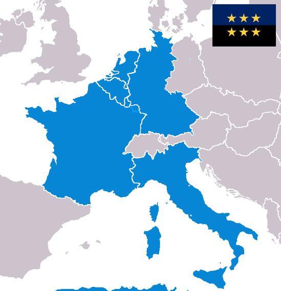Les 6 pays membres de la CECA en 1952 : la France, l'Allemagne, la Belgique, les Pays-Bas, le Luxembourg et l'Italie