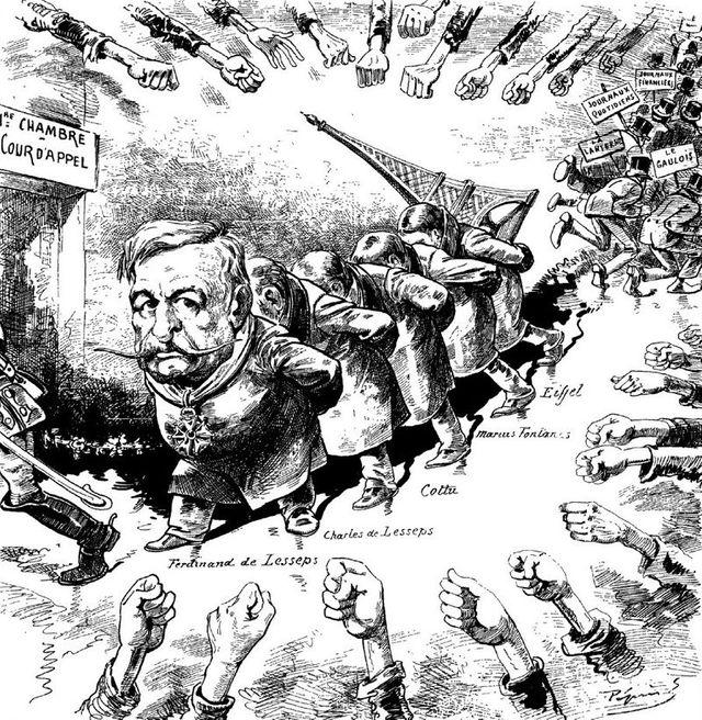 Caricature de Claude Guillaumin sur la faillite de la Compagnie du canal de Panama - Journal le Grelot du 27/11/1892