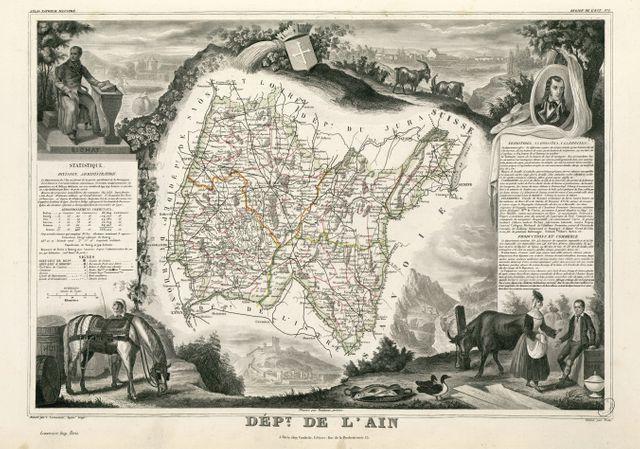 Carte du département de l'Ain par V. Levasseur - 1854