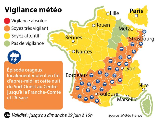 32 départements en vigilance orange