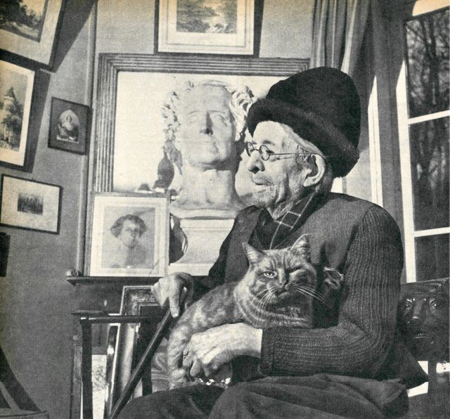 Paul Léautaud et son chat en 1956