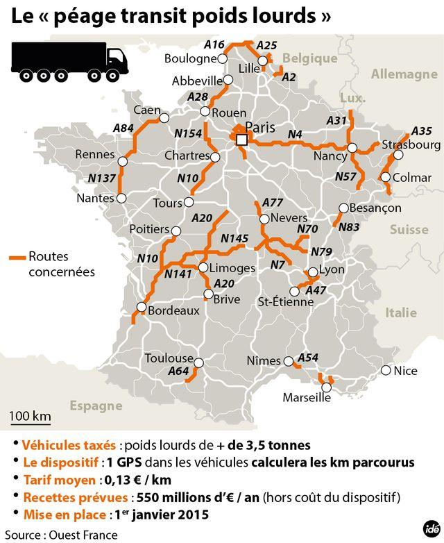 """L'écotaxe se transforme en """"péage de transit poids lourds"""""""