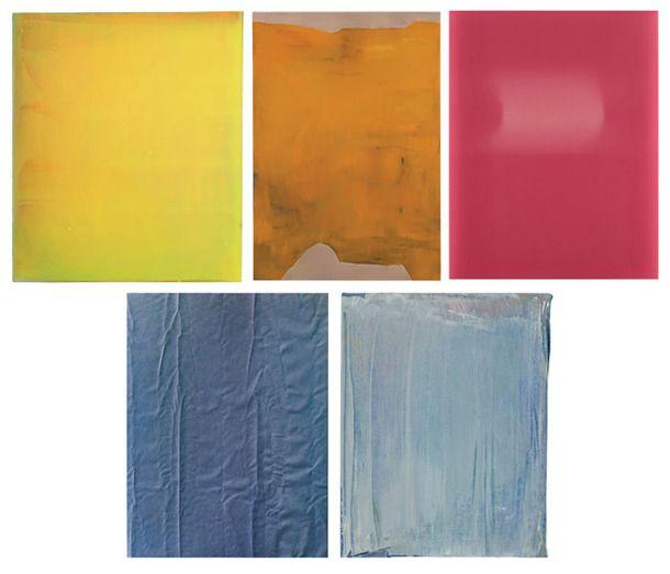 Untitled (2010), by Markus Amm; Untitled (2013), Stef Driesen; Roll Fades (2012), Sam Falls. Tauba Auerbach et David Keating