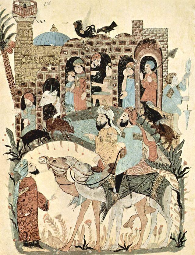 Caravane en route vers La Mecque par Yahya ibn Mahmud al-Wâsitî' - Maqâmât al-Harîrî - 1237