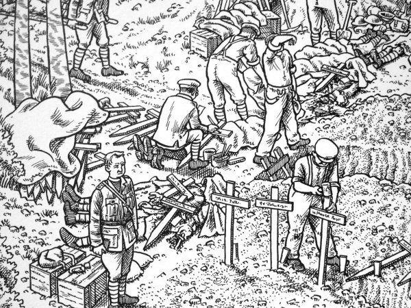La Grande Guerre : le premier jour de la bataille de la Somme (détail) © Radio France - 2014 / Joe Sacco
