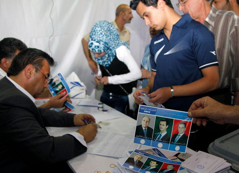 Vote dans le centre de Damas le 3 juin 2014