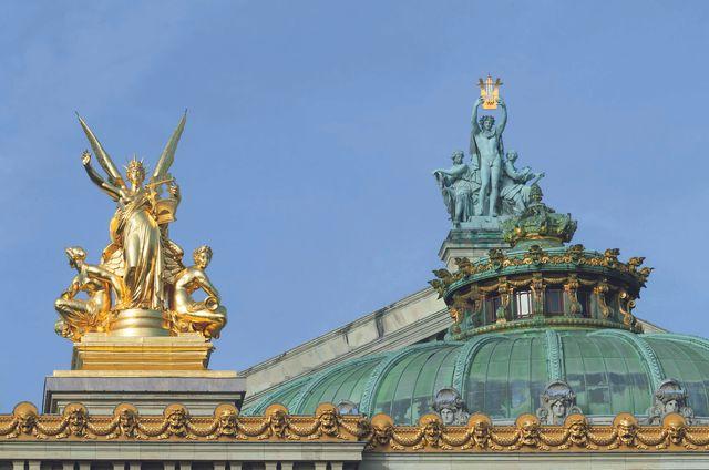 """""""Opéra Garnier"""" (éditions de la Martinière) : Apollon élevant sa lyre, d'Aimé Millet et L'Harmonie, de Charles Gumery"""