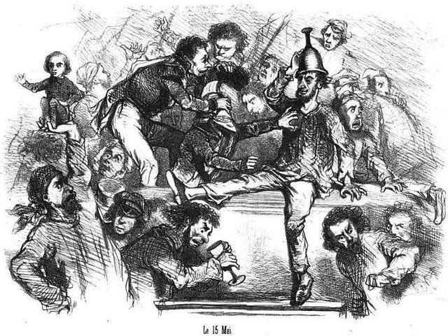 Caricature de Cham représentant l'intrusion des manifestants dans l'Assemblée nationale constituante (15 mai 1848)