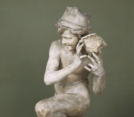 Pêcheur à la coquille, plâtre - Jean-Baptiste Carpeaux