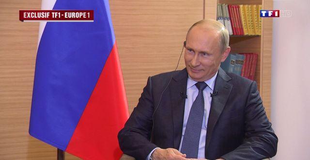Vladimir Poutine, lors d'un entretien à TF1 et Europe 1 (capture d'écran)