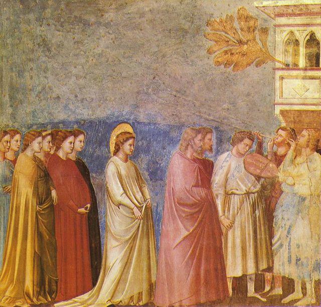 Giotto di Bondone (1267-1337), Cappella Scrovegni a Padova, La procession de mariage de Marie