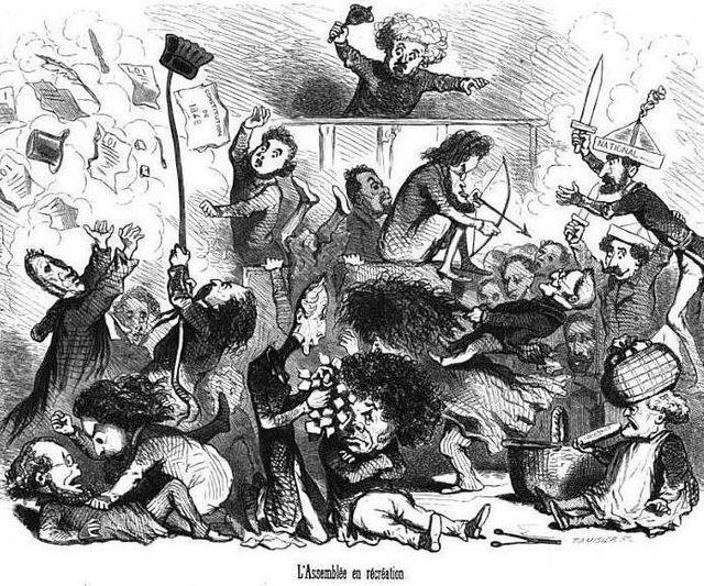 """""""L'Assemblée en récréation"""". Caricature de Cham représentant l'Assemblée nationale constituante (4 mai 1848 - 26 avril 1849)"""