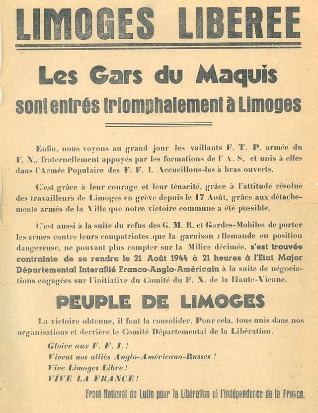 Affiche apposée à Limoges au lendemain de la libération de la ville par la Résistance le 21 août 1944